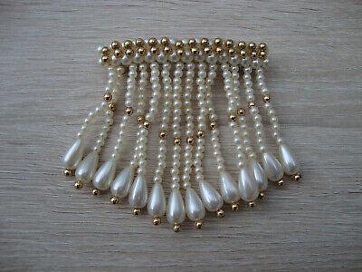 schöne Haarspange mit Perlenanhängern perlmutt- und goldfarben neu