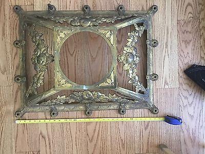 Medallion Bronze Chandelier - HUGE Antique Gilt Bronze Brass Chandelier Parts Refurbish Medallion Fruit