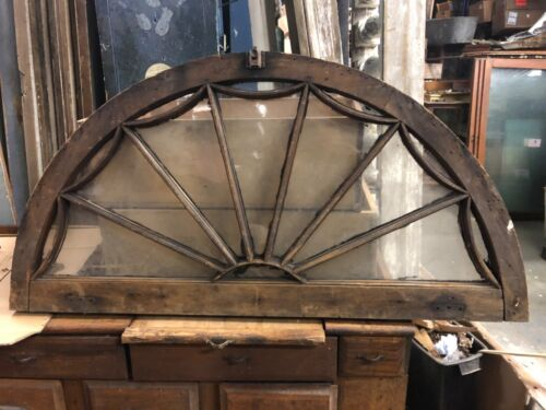 "c1890 vintage gable end arched window frame spider web fenestration 42"" x 21"""