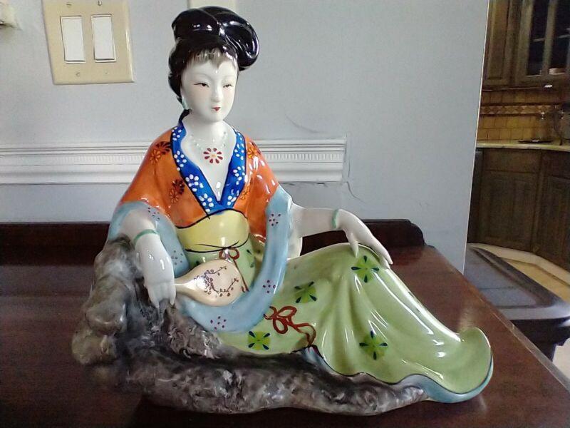 10.5'' Tall Vintage Porcelain Reclining Geisha Statue Figurine