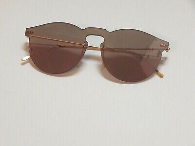illesteva Leonard Mask Women's Sunglasses Rose Brown Mirror Lens Gold Tone
