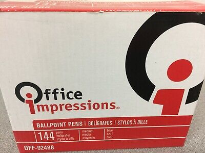 Office Impressions Off92488 Economy Stick Ballpoint Pen Blue Ink 1 Mm 144pa