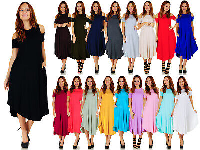 Women's Mid-Length Cold Shoulder Rounded Hem Dress (Size: S-5X) AD1077B ()