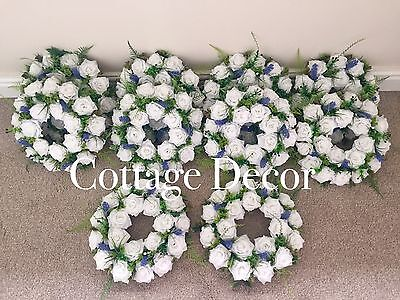 SET OF 10 HANDMADE WEDDING WREATHS DECORATION ROSES LAVENDER TABLE CENTREPIECE - Lavender Centerpieces