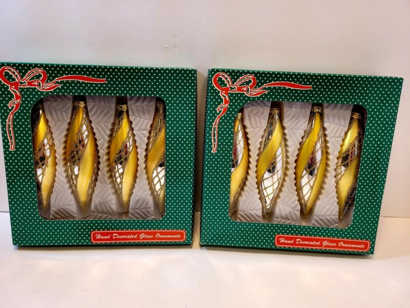 Lot Of Two Boxes 8 Teardrop Vtg Gold Ornaments