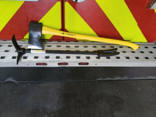 Halligan Tool and Flat Head Axe Irons Set Forcible Entry Bar Rescue
