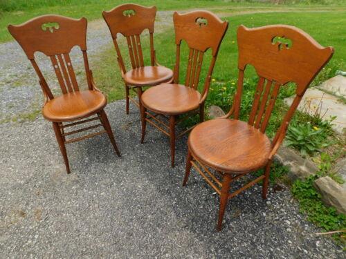 4 Antique Quartersawn Oak Bentwood Highback Arts Crafts Victorian Keyhole Chairs
