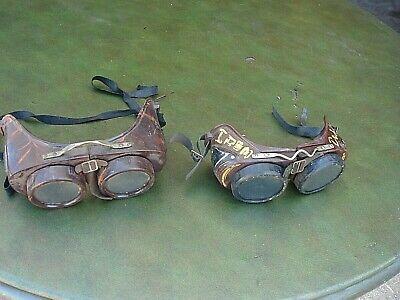 2 Vintage Protective Welders Bakelite Goggles Glasses Steampunk Movie Prop