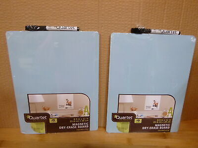 2 Quartet Magnetic Whiteboard 8-12 X 11 White Board Dry Erase Board Blue