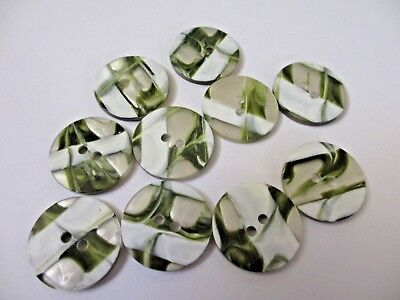 """Ten Large Green and White TWO Hole Plastic  Buttons  1""""  25 mm"""
