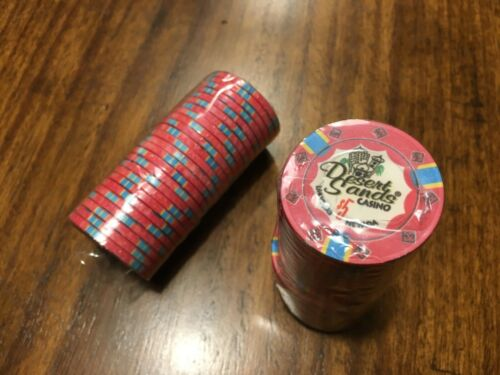 Lot of 50 Wrapped Desert Sands Casino Las Vegas10 Gram Ceramic Poker Chips $5