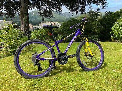 """Carrera Luna 24"""" Wheels Junior Mountain Bike, Aluminium Frame, Purple & Yellow."""