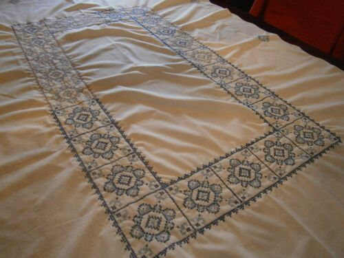 Hand Made Tablecloth Cross Stitch 1950s Blue & White Size 49X59