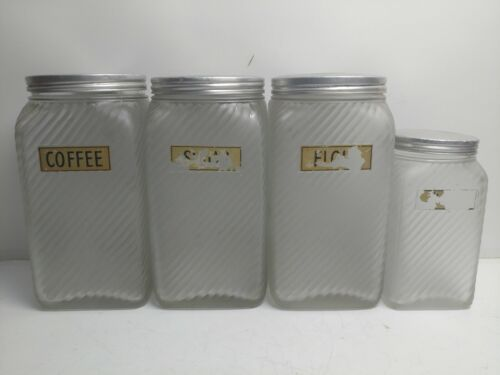 antique Hoosier OWENS ILLINOIS FROSTED SWIRL GLASS CANISTER SET lot of 4 vintage