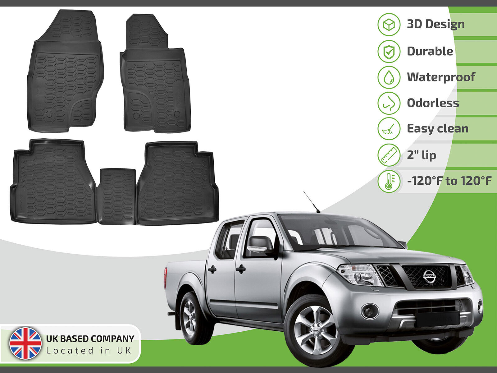 For Nissan Navara Double Cab 01-05 Black Tailored Floor Car Mats Carpet //Rubbe