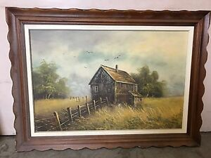 Farm painting about 36x48 in frame