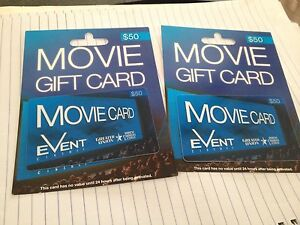 Event cinema movie gift cards $50 each $100 value free postage Rowville Knox Area Preview