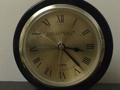 Vintage Reflections Black Marble Desk Top Clock & double Pen Holders NO PENS