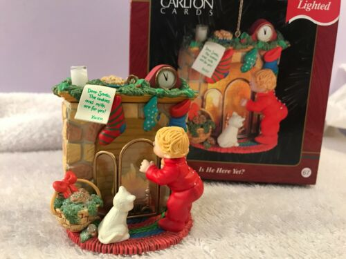 Christmas ornament carlton cards fireplace cat child looks 4 santa IS HE HERE YE