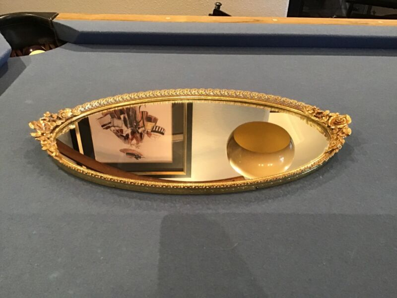 Vintage Matson Rose Oval Gold Plated Mirror Vanity Tray