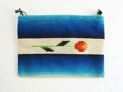 1930s Handbags and Purses Fashion 1930's Hand Woven Wool Chimayo Style Clutch Purse Tuquoise with Flower Pattern $111.75 AT vintagedancer.com