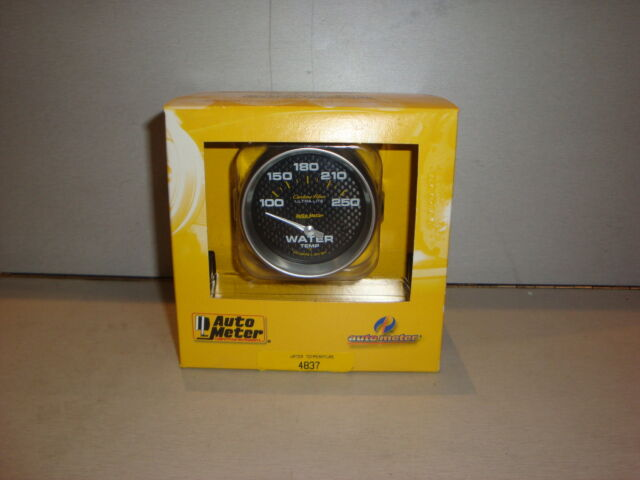"AUTOMETER AU4837 Carbon Fiber Series Water Temperature Gauge 2-5/8"" Short Sweep"