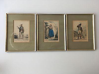 3 Stk colorierte Lithografie LECOMTE 1818 gerahmt 29x38cm Motiv Volkstypen I + S