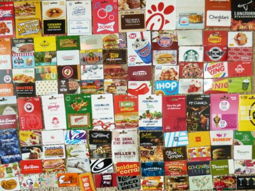 Gift Card LOT of 108 Different Food & Restaurant Only -No Value - Each Pictured