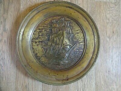 ANTIQUE BRASS WALL HANGING CHARGER PLATE - GALLEON SHIP AT SEA SCENE 44 cm