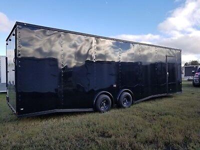 New 8.5x28 V-nose Enclosed Cargo Trailer Car Toy Hauler 8.5x28 5200lb Axles
