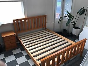 Solid Pine Queen Bed Frame & 2x Matching Bedside Tables Waterloo Inner Sydney Preview