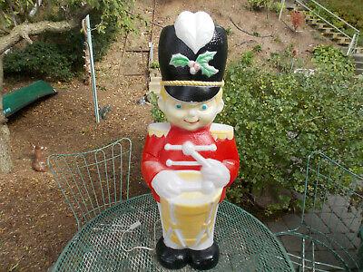 "Vtg Christmas 35"" Drummer Boy Blow Mold W/Holly on Hat Lighted Yard Decor"