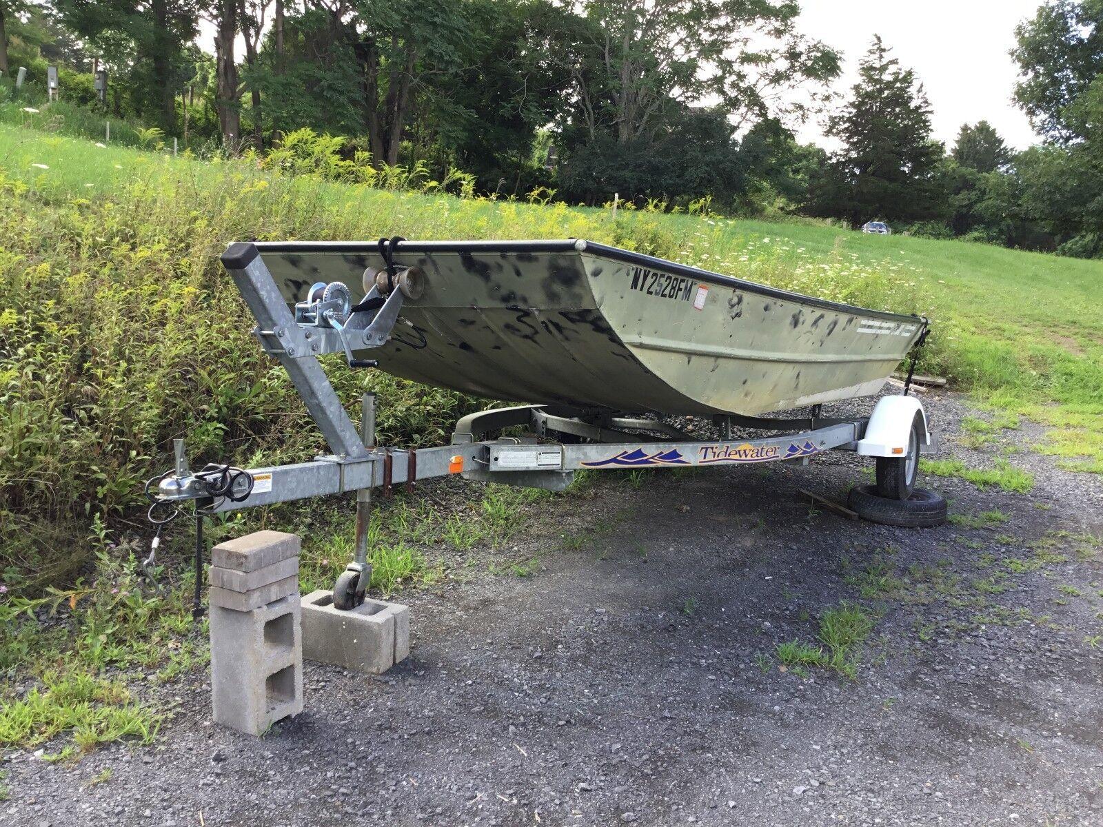 """1983 Husky Jon Fishing or Duck Boat by """"Lowe"""" 16' includes """"Tidewater"""" trailer"""
