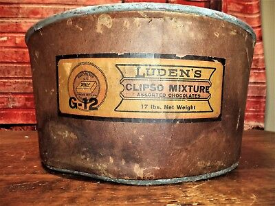 ANTIQUE 1906 LUDEN's CHOCOLATE CLIPSO Pasteboard Bucket Pail &Handle Candy Store