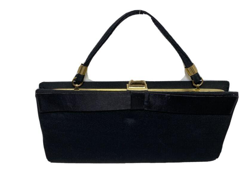 "Black Fabric Satin Ribbon Handbag Purse with Handle 9.75""L x 4.75""H Used Vintage"