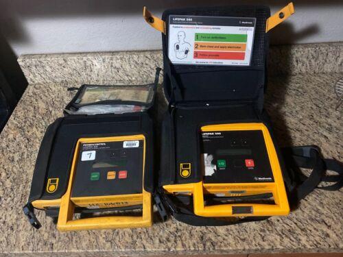 Lot of 2 Medtronic Lifepak 500 Biphasic Automated External Defibrillator & Case