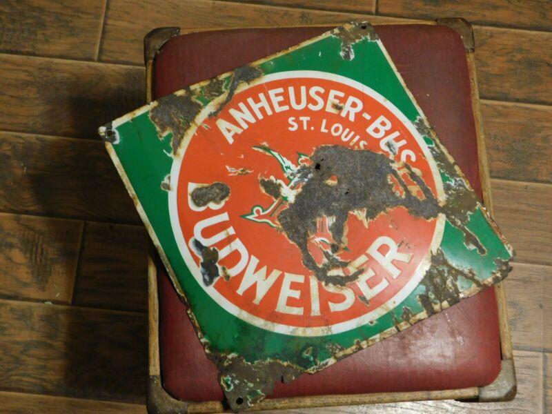 antique Budweiser pre probation porcelain metal sign