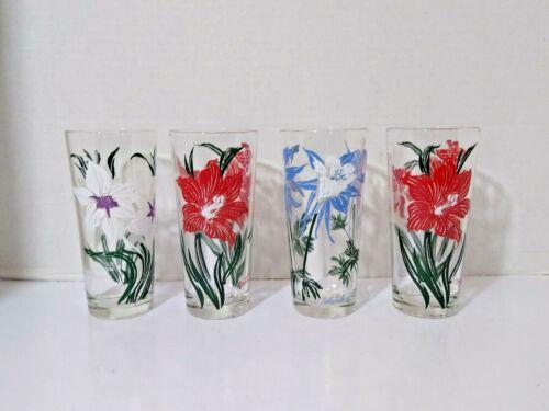 Vintage RARE Lot of 4 Tumblers Drink Glasses Flower Pattern Floral Stamp