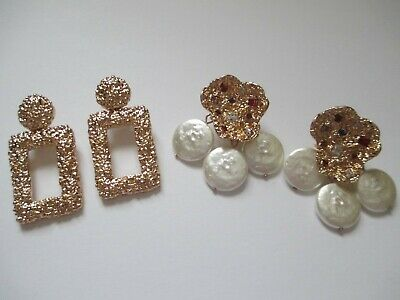 NEW ZARA GOLD TONE RHINESTONE PEARL DANGLE AND HOOP POST EARRING LOT 2PC