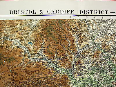 1919 LARGE MAP ~ BRISTOL & CARDIFF DISTRICT ~ PHYSICAL MONMOUTHSHIRE CHANNEL