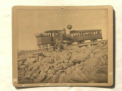 1899 Mount Washington NH Cabinet Photo Cog Railway Train Jacob's Ladder