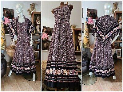 Vintage Horrockses Womens Dress Scarf Belt Peasant Gypsy Dress Floral Purple M