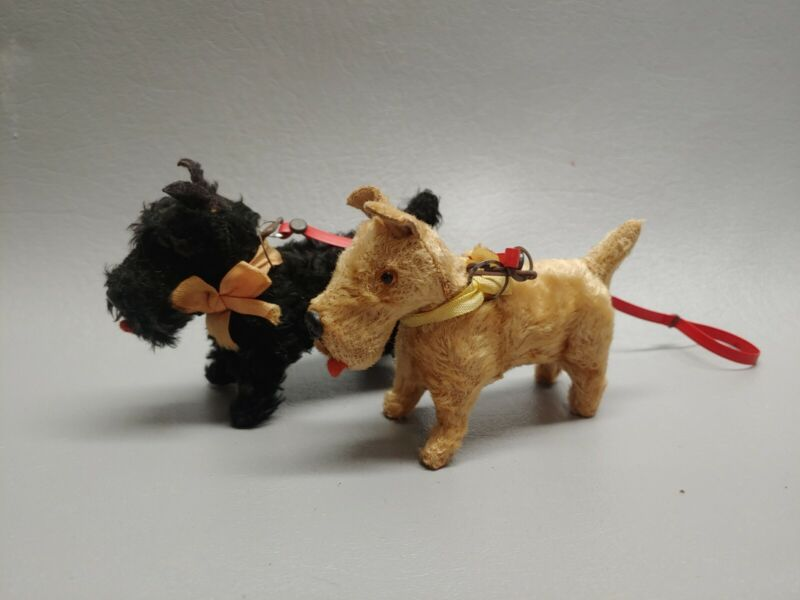 Vintage Germany terrier dog pair on double leash for doll Scottie dog