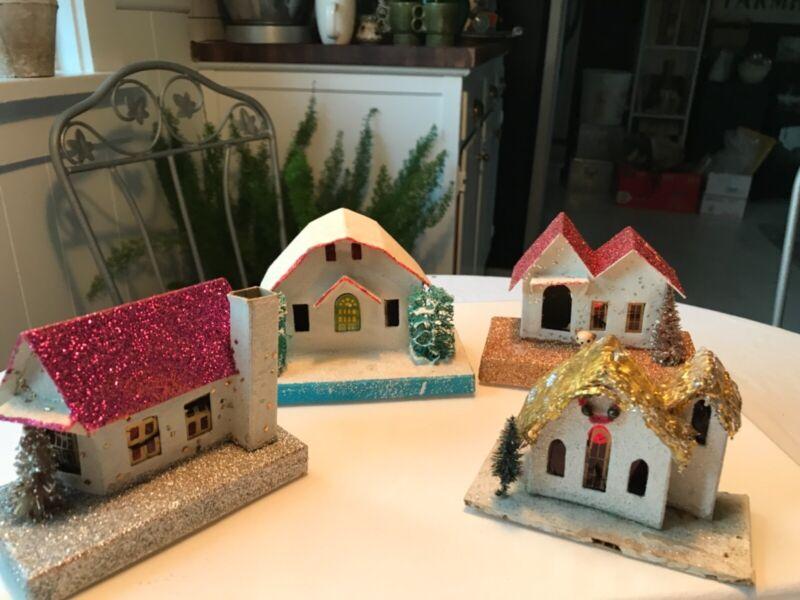 Vintage Christmas Putz Village Houses Small Japan Set of 4