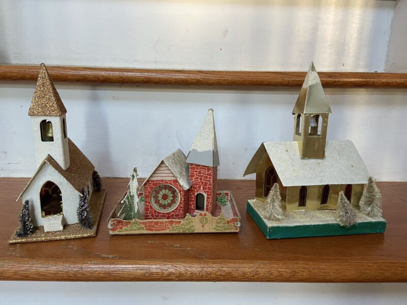 Lot Of 3 Vintage Christmas Cardboard Putz Churches Mica Glitter Japan Large