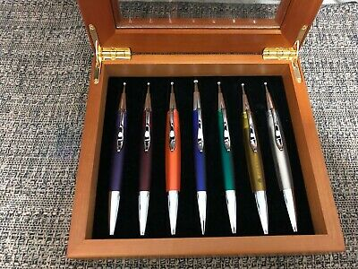 Excellent Wooden Pen Display Case/Box with Glass Window & 7 multi colored BP