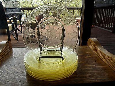 "(8) Luncheon Salad Plates 8"", Yellow Glass depression Hocking Cameo Ballerina"