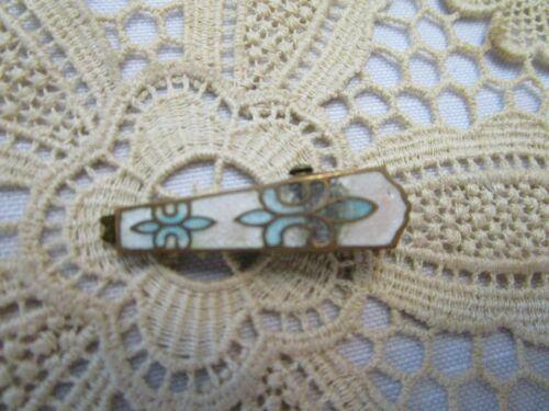 Vintage Enamel Guilloche Art Deco Blue White  Lingerie, Scarf, Tie Bar Clip Pin