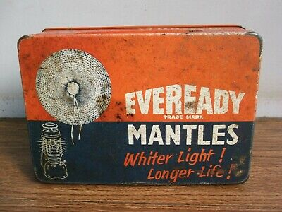 """Rare vintage """"EVEREADY"""" MANTELS advertising tin box of 50's made in India."""