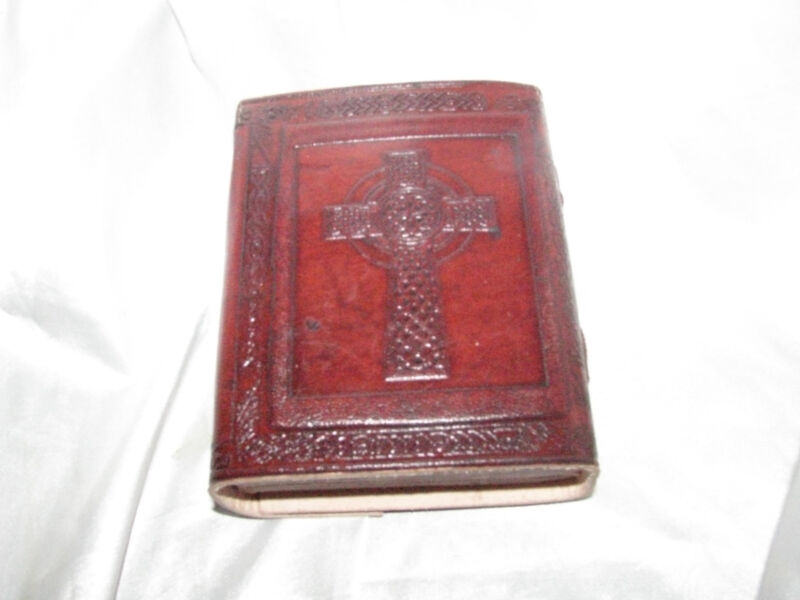 Small Celtic Cross Pocket Leather Journal with Latch Grimoire (BOS)